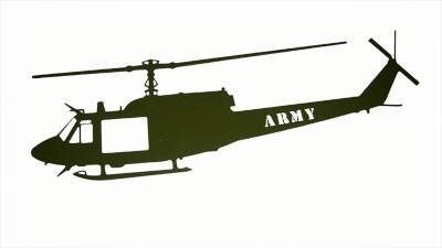 Huey Green Wall Mount Laser Cut ARMY