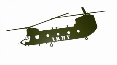 Chinook Green Wall Mount Laser Cut ARMY