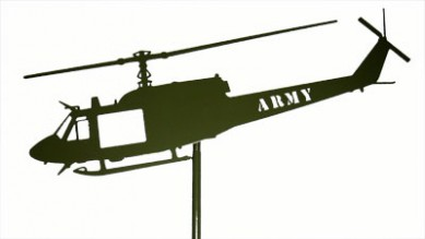 Huey Green Post Mount Laser Cut ARMY