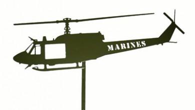 Huey Green Post Mount Laser Cut MARINES