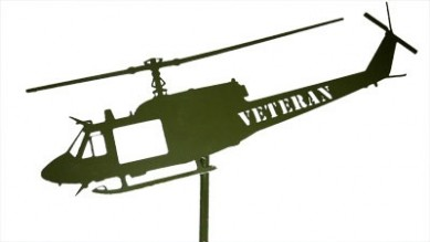 Huey Green Post Mount Laser Cut VETERAN