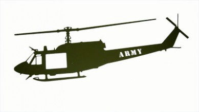 Huey Green Wall Mount Laser Cut ARMY